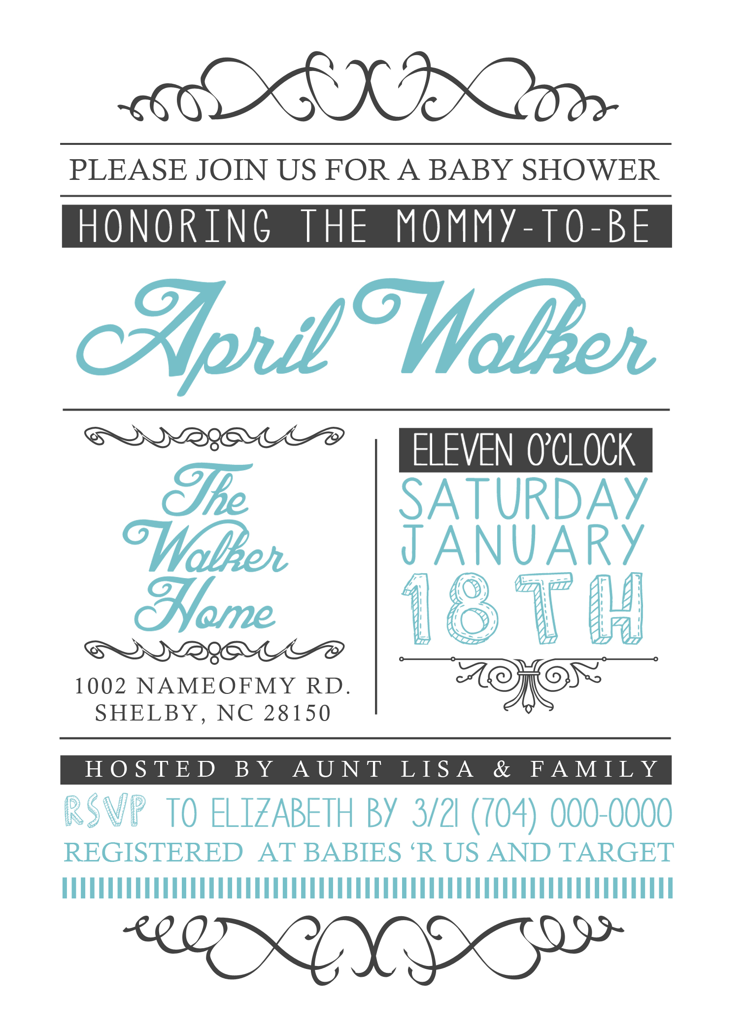 5x7 Baby Shower Invite Boy