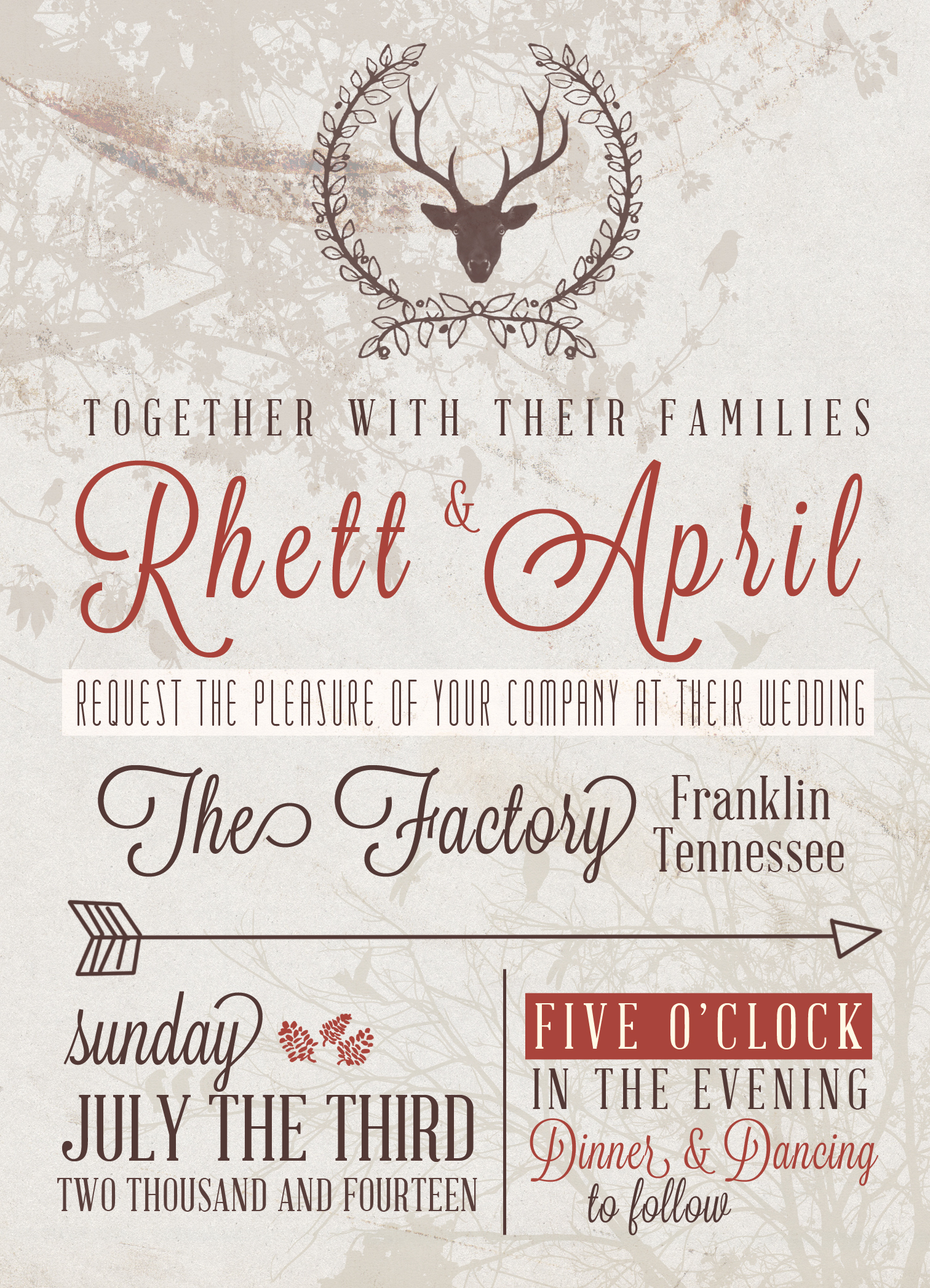 5×7 Rustic Wedding Invite – $10 or Free PSD file | Mama Walker