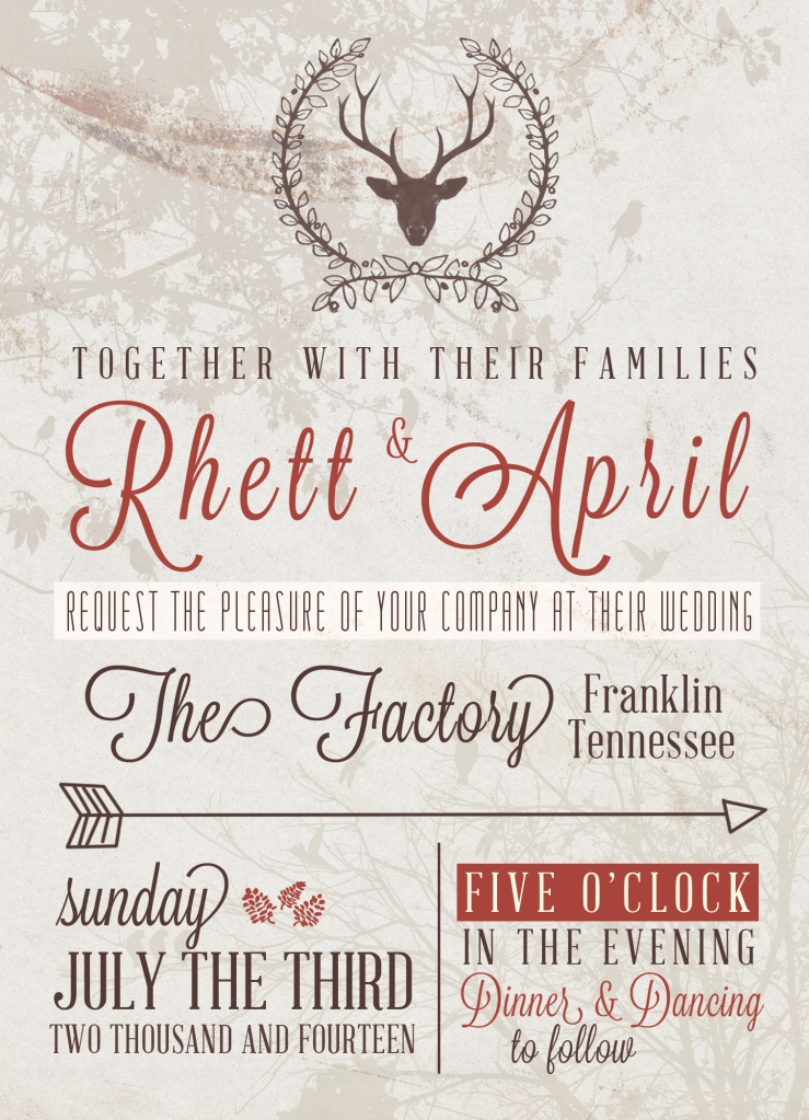 5x7 Rustic Wedding Invite - $10 or Free PSD file