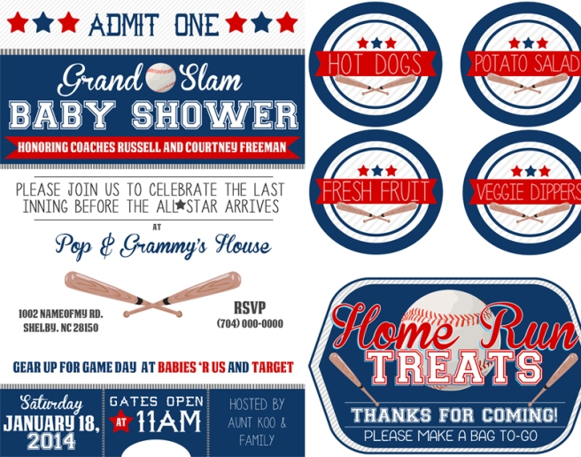 baseball themed baby shower kit  free  mama walker, Baby shower invitations