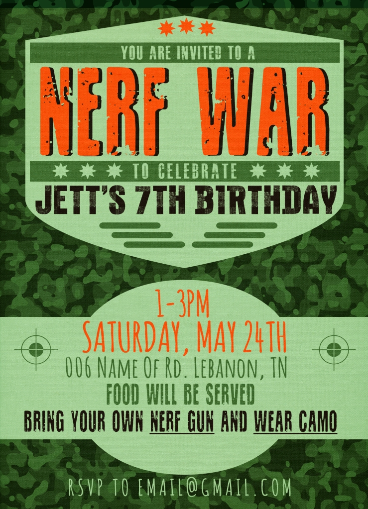 Nerf War Party Invitation